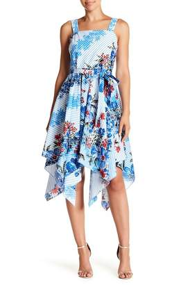 Gabby Skye Stripe & Floral Sharkbite Hem Dress