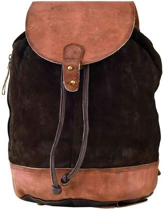 Vintage Addiction Suede & Leather Top Flap Backpack