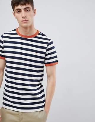 Farah Belgrove stripe t-shirt in navy