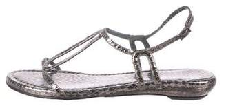Stuart Weitzman Embossed Ankle Strap Sandals