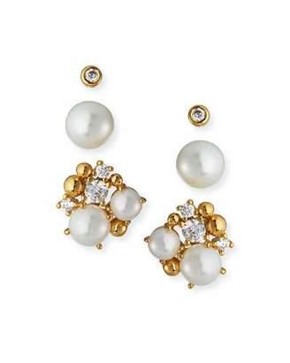 Tai Pearl & Cubic Zirconia Stud Earrings, Set of 3