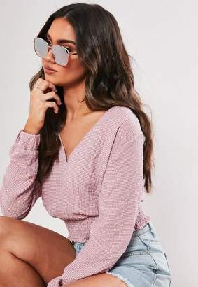 Missguided Gold Rectangle Metal Frame Sunglasses