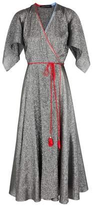 Anna October Silver Lamé Wrap Dress