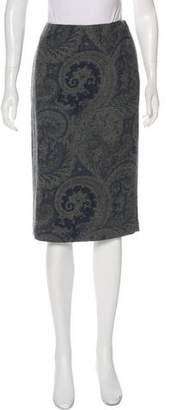 Ralph Lauren Black Label Paisley Wool Knee-Length Skirt