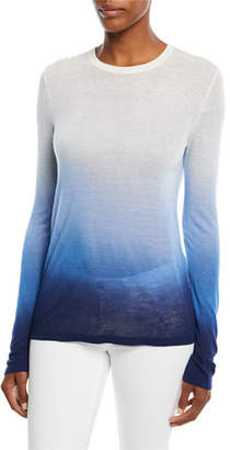 Michael Kors Crewneck Long-Sleeve Ombre Linen-Blend Tee