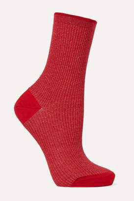 Maria La Rosa Ribbed Metallic Wool-blend Socks - Red