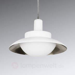 Trendige LED-Hängeleuchte Side weiß u. nickel matt