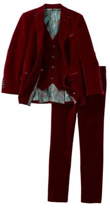 Geoffrey Beene Three Piece Classic Velvet Suit Set (Toddler, Little Boys, & Big Boys)