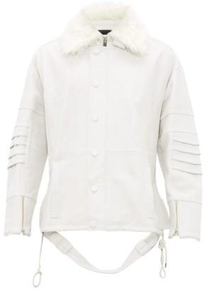 Ambush Faux Fur Collar Leather Jacket - Mens - White