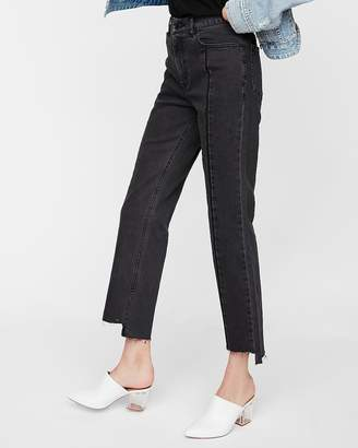 Express High Waisted Black Straight Cropped Stretch Jeans