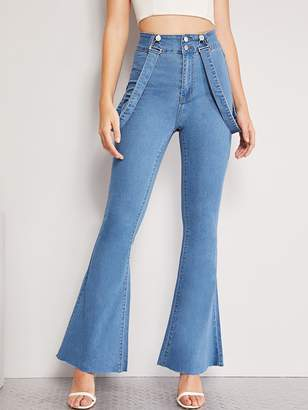 Shein High Waist Flare Leg Jeans With Strap