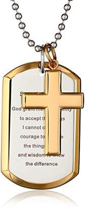 Cold Steel Men's Stainless Steel Yellow Immersion Serenity Prayer Cross Dog Tag Pendant Necklace