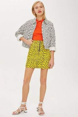 Topshop Womens Yellow Leopard Zip-Up Skirt