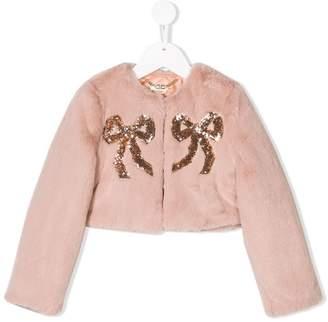 Elisabetta Franchi La Mia Bambina cropped faux fur bow coat