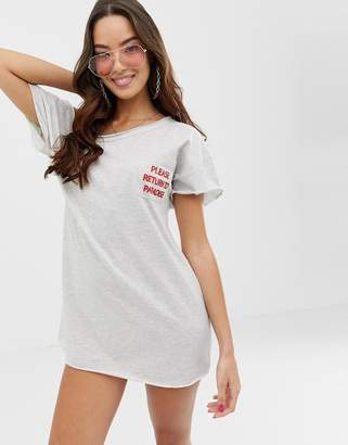 Asos Design DESIGN 'please return to paradise' slouchy jersey beach tee cover up