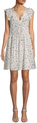 The Kooples Ruched Silk Flare Dress