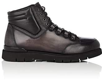 Franceschetti Men's Shearling-Lined Leather Hiking Boots