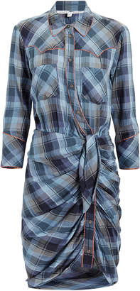 Veronica Beard Sierra Blue Plaid Shirtdress