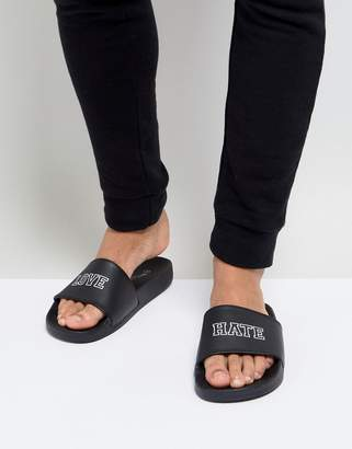 Brave Soul Love Hate Slider Flip Flops