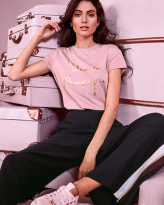 Ted Baker LOLYATA Champagne logo fitted T-shirt