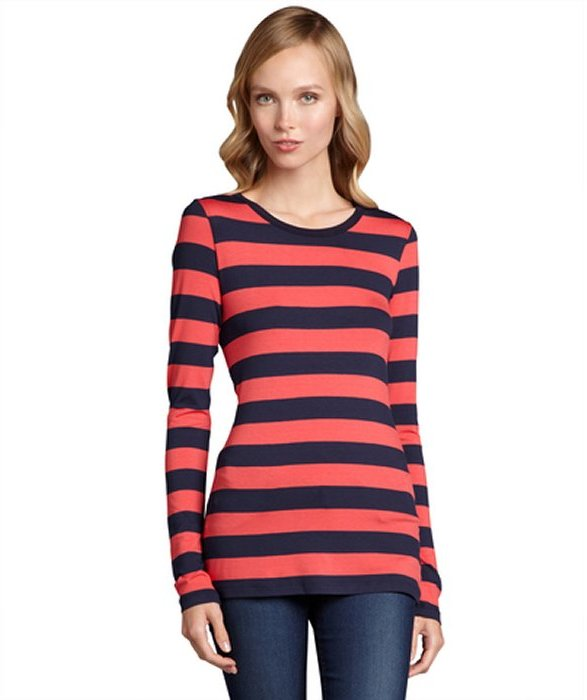 Wyatt deep coral and navy stripe jersey long sleeve shirt