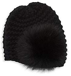 Cloche Raffaello Bettini Women's Fur Pom Pom Chain Knit Cashmere Hat