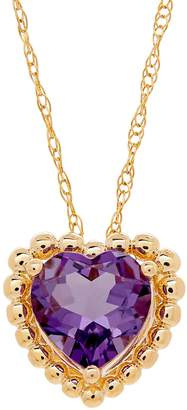 Fine Jewellery Amethyst and 14K Gold Heart Pendant Necklace