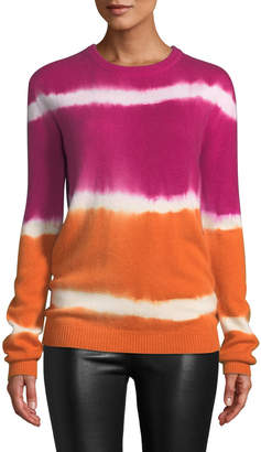 Prabal Gurung Tie-Dye Striped Cashmere Sweater Pink/Orange