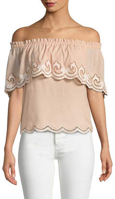 Ramy Brook Embroidery Off-Shoulder Top