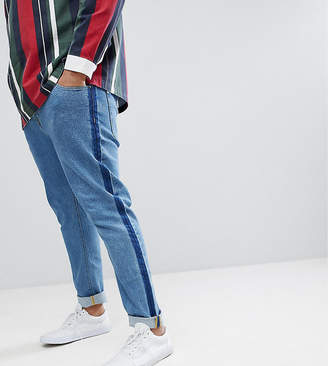 Asos DESIGN PLUS Skinny Jeans In Mid Wash Blue With Side Stripe