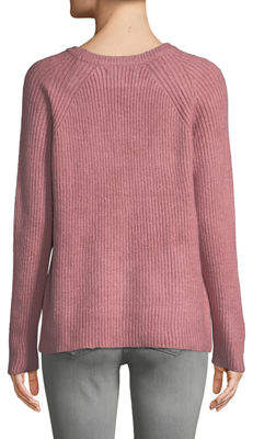 Free Generation Lattice-Shoulder Ribbed Pullover Sweater