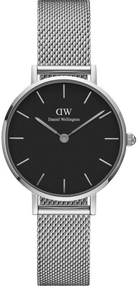 Daniel Wellington DW00100218 Petite 28mm Sterling Black Dial Silver Watch