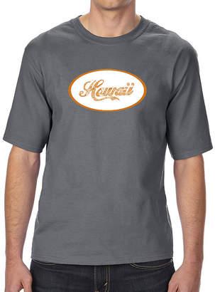 LOS ANGELES POP ART Los Angeles Pop Art Men's Tall and Long Word Art T-shirt - HAWAIIAN ISLAND NAMES & IMAGERY
