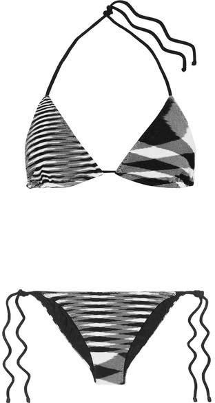 Mare Donna Striped Crochet-knit Triangle Bikini - Black