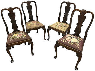 One Kings Lane Vintage Queen Anne Style Needlepoint Chairs - Set of 4 - Madcap Cottage