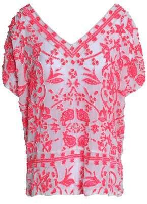 Antik Batik Open-Back Flocked Gauze Top
