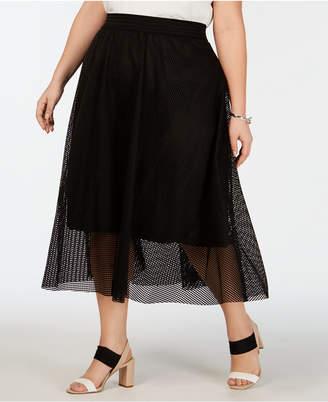 Alfani Plus Size Mesh Midi Skirt