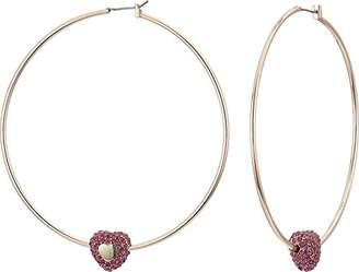 Betsey Johnson GBG) Women's Fuchsia Pave Stone Heart Hoop Earrings