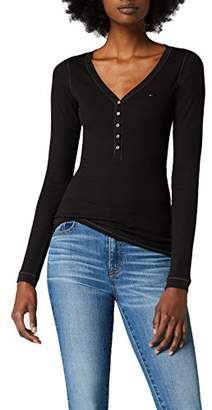 Tommy Hilfiger Tommy Jeans Women's Long Sleeve Original Henley Shirt Black