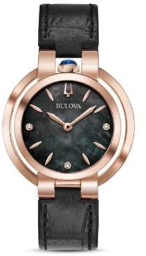 Bulova Rubaiyat Black Leather Strap Watch, 35mm