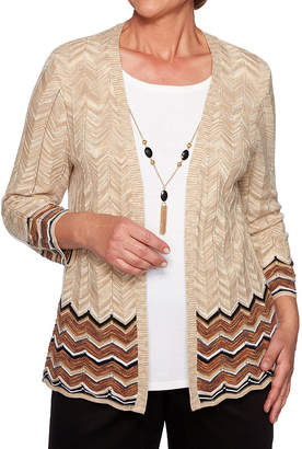 Alfred Dunner Street Smart Womens Round Neck 3/4 Sleeve Layered Sweaters