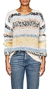 Chloé WOMEN'S STRIPED COTTON-BLEND RELAXED SWEATER-MULTI PASTEL SIZE S