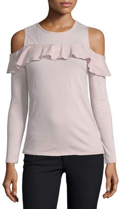 Velvet Pepia Cold-Shoulder Top with Ruffled Frills