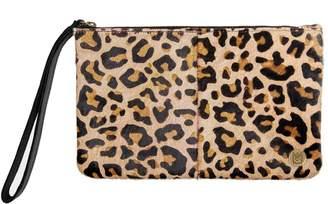 Mahi Leather Classic Clutch Bag In Leopard Print Pony Fur