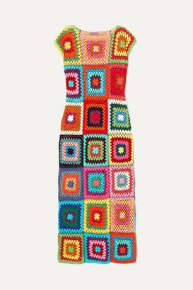 Rose Carmine - Patchwork Metallic Crochet-knit Cotton Maxi Dress - Red