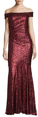 Badgley Mischka Off-The-Shoulder Sequin Mermaid Gown