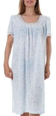 Jasmine Rose Lace, Satin Mesh Trimmed Floral Print Midi Nightgown