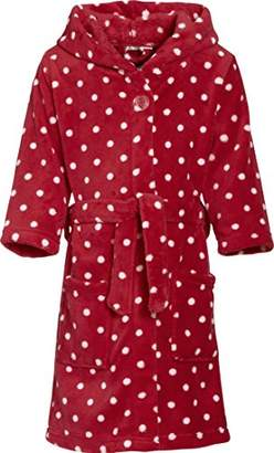 Playshoes Girls' Hooded Long Sleeve Bathrobe - Red