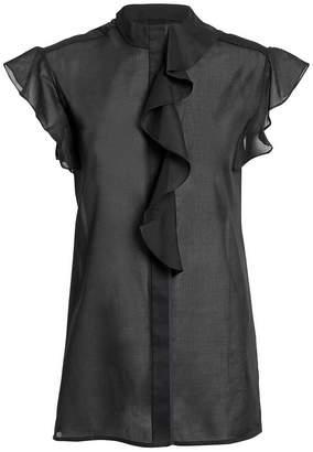 Victoria Beckham Victoria, Flute Ruffle Black Blouse
