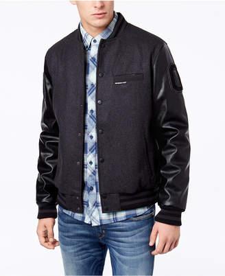 Members Only Men's Mixed Media Varsity Jacket